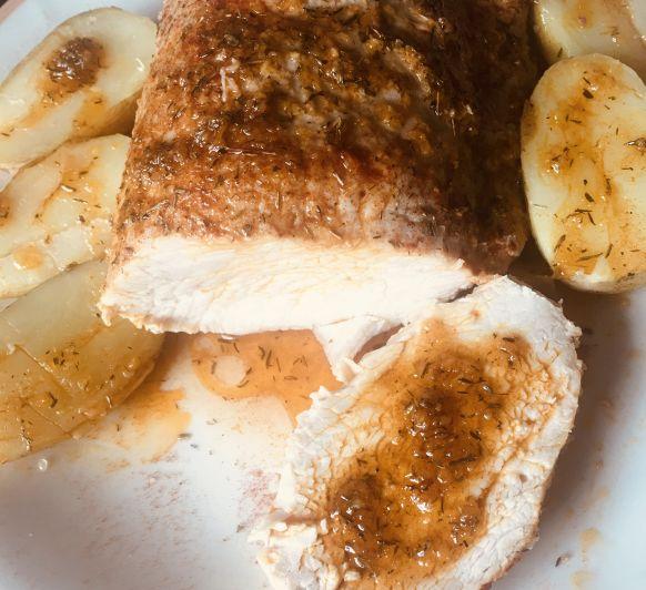 Lomo de cerdo a la sal ,con salsa de tomillo en Thermomix®
