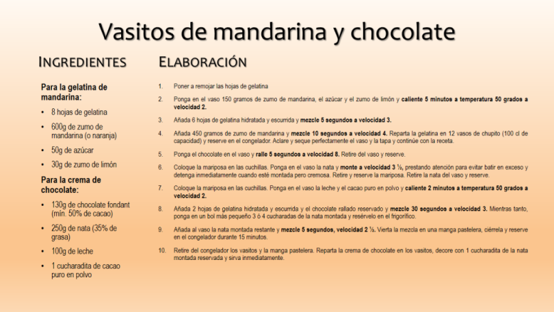 Vasitos de mandarina y chocolate con Thermomix®