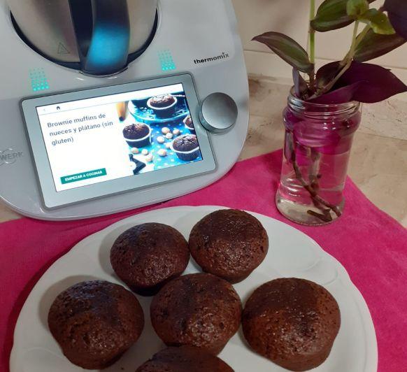 Brownie muffins de nueces y plátano(sin gluten) Thermomix®