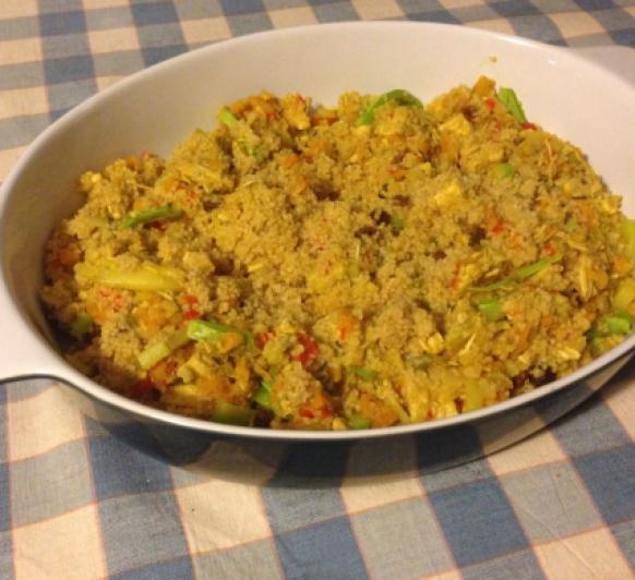 Cuscús con pollo y verduras al curry con Thermomix®