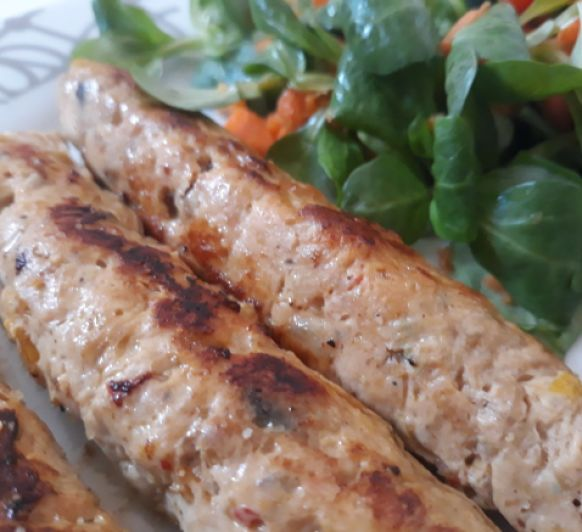 Salchichas de pollo con verduras al varoma