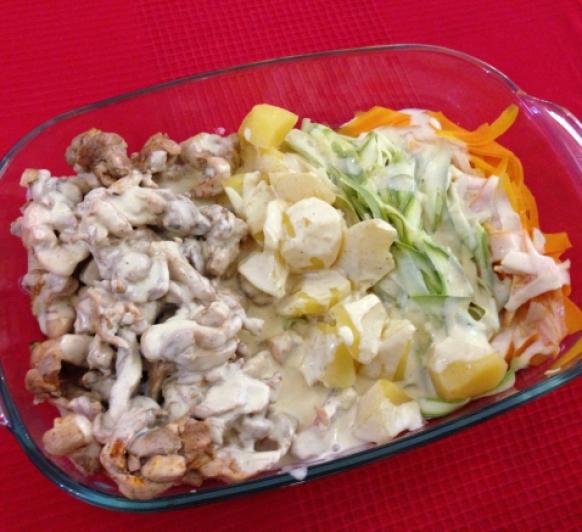 Crema de verduras y pollo al vapor con salsa suprema con Thermomix®